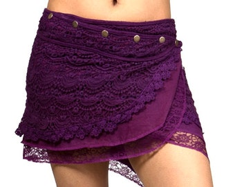 Crochet Skirt MM002 (fairy, witchy, whimsical, elven, nymph, folklore, belly dance, hooping, snap skirt)