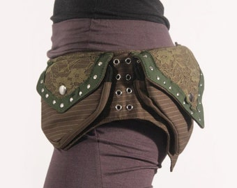 festival clothing White Utility Belt Bag ~ vegan pocket belt in cream cotton canvas ~ Burning Man festival hip belt cosplay accessories