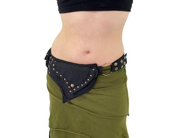 Denim 2 Pocket Brass ~ Mishu ~ Pocket Belt , Hip Bag , Utility Belt , Pixie Pockets , Fairy Belt , Festival Belt , Cosplay