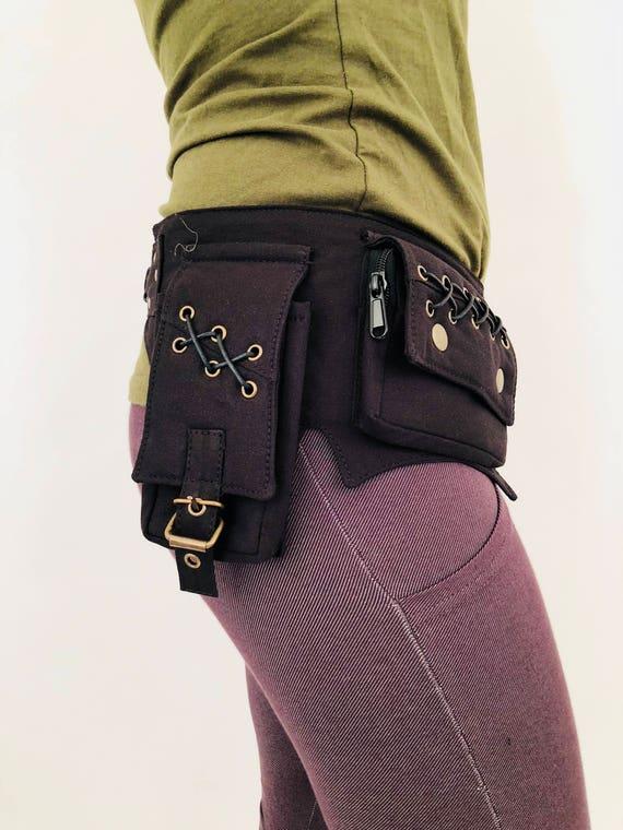 Pocket Belt Cotton Utility Belt,Festival Belt,Fanny Pack,Bum Bag,Hip Bag,Festival Clothing,Money Belt,Travel Belt,Burning Man.Waist Belt.