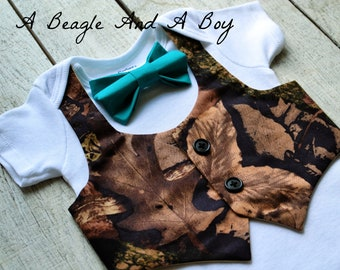 82d264ccf1ef Baby Boy Clothes Camo Teal Blue Bow Tie Camouflage Vest Outfit Coming Home  Boys First 1st Birthday Cake Onesie Newborn Clothing Bodysuit