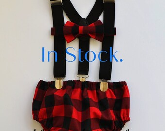 Lumberjack diaper cover tie and birthday hat outfit