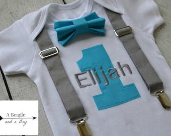 Boys First Birthday Outfit Baby Boy Clothes Gray Turquoise Blue Suspenders Bow Tie 1st Bowtie Cake Smash Custom Colors Free Name