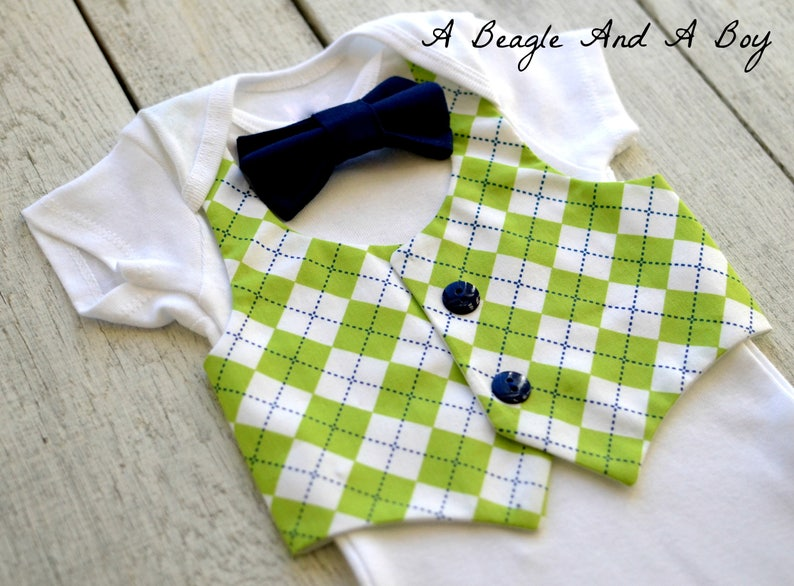 d2dac5423870 Baby Boy Golf Clothes Bow Tie Vest Outfit Argyle Coming Home | Etsy