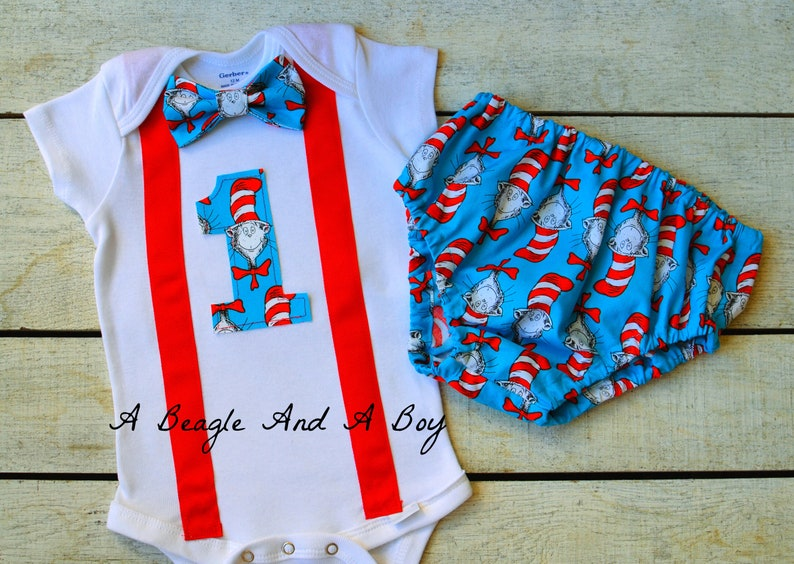 Cat In The Hat First Birthday Boy Girl Cake Smash Onesie Diaper Cover Set Personalized Name Bow Tie Suspenders 1st Dr Seuss Suess