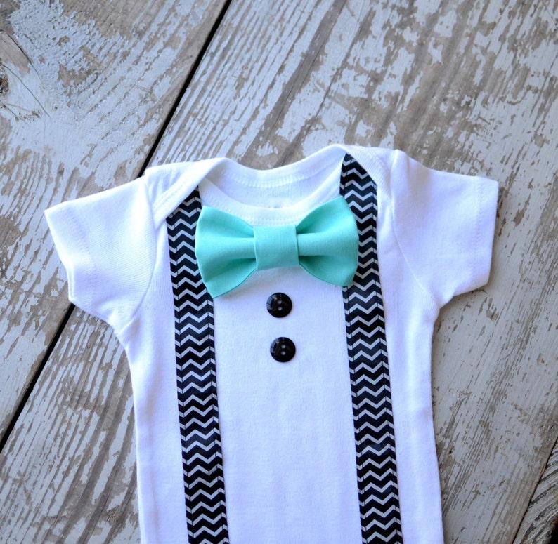 Baby Boy Clothes Infant Aqua Custom Bow Tie Suspenders Bowtie Chevron Suspender Cake Smash Tuxedo Bodysuit Onesie Boys Clothing Valentine/'s