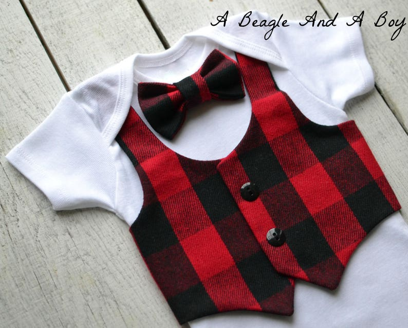 f9721b42a Lumberjack Baby Boy Clothes Bow Tie Vest Outfit Buffalo Plaid | Etsy