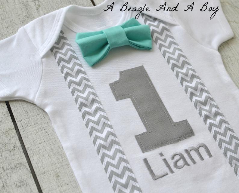 aa91bf17f9cff Boys First Birthday Outfit Baby Boy Clothes Gray Chevron Birthday  Suspenders Aqua Blue Bow Tie 1st Birthday Grey Bowtie Cake Smash Free Name