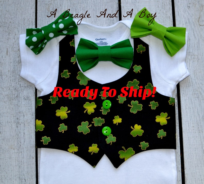 8d4dc7d0746a Ready to Ship Baby Boy St Pattys Clothes Bow Tie Vest Outfit | Etsy