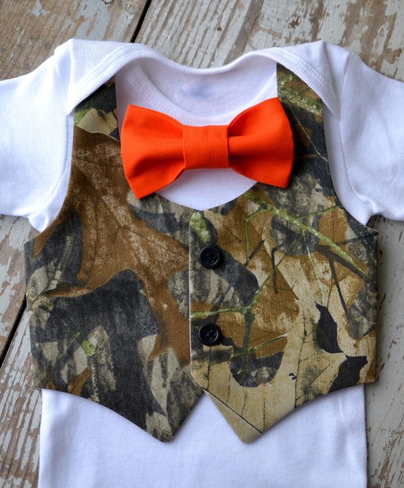 828d36756e84 Baby Boy Clothes Camo Orange Bow Tie Camouflage Vest Outfit | Etsy