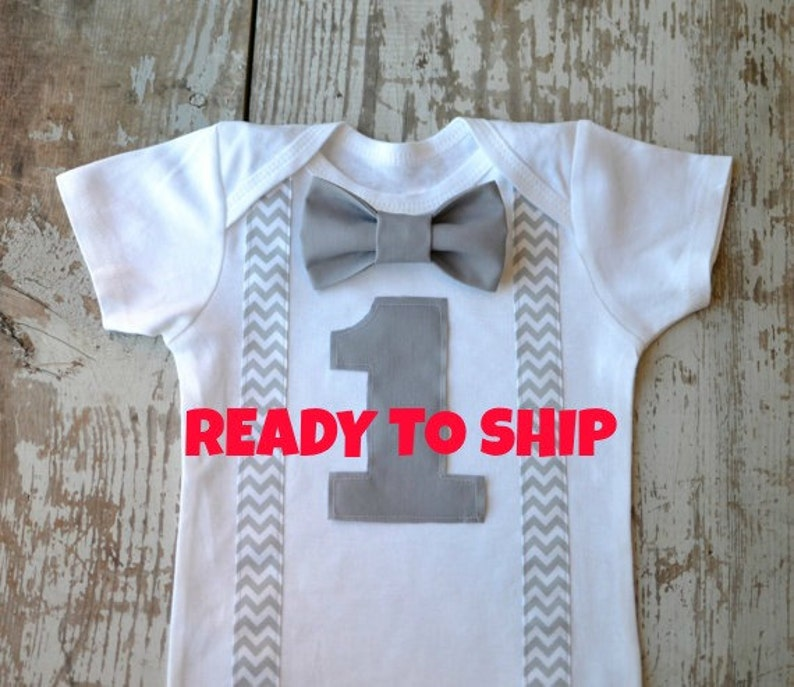 7c04fb26bbeee Boys First Birthday Outfit Baby Boy Clothes Gray Chevron Birthday Outfit  Suspenders Bow Tie 1st Birthday Number Grey Bowtie Cake SmashTuxedo