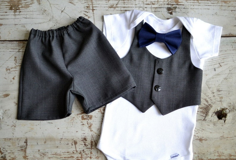 62d49cc86ec8 Baby Boy Clothes Baby Bow Tie Outfit Grey Vest Shorts Suit | Etsy