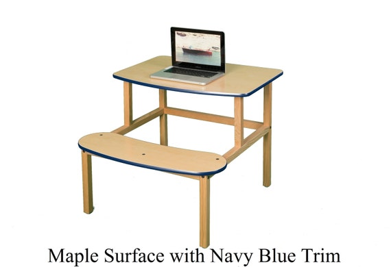 Superb Childs Wooden Computer Activity Desk With Attached Seat For 1 Or 2 Kids Gmtry Best Dining Table And Chair Ideas Images Gmtryco