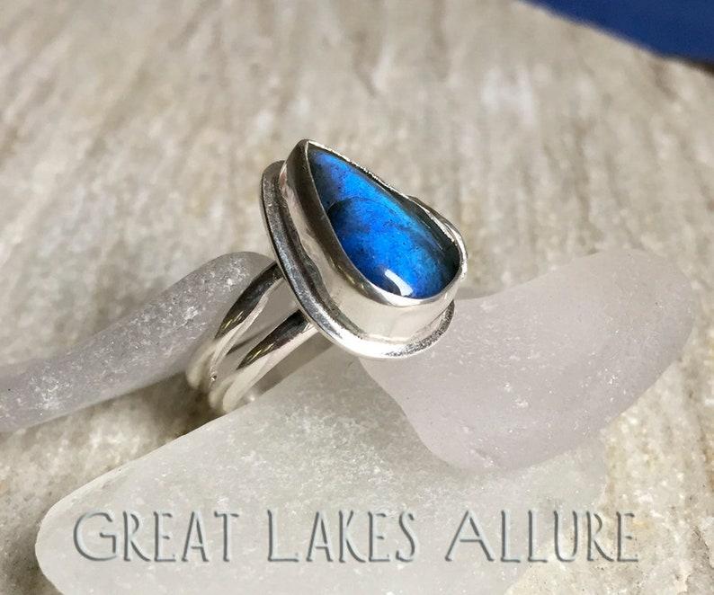 b9db6e098b Blue Labradorite Ring Size 6.5 Sterling Silver Ring Blue | Etsy