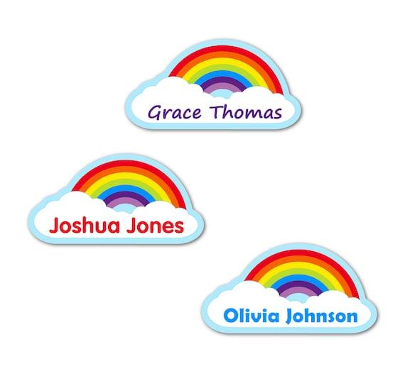 colourful Preschool school label Dishwasher safe Baby Kindergarten Large Rainbow Name Stickers Kids Name Labels Waterproof