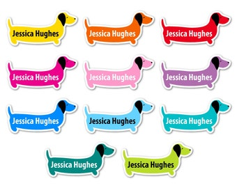 45 Personalised Sausage Dog Shaped Waterproof Vinyl Stick On School Name Labels  - Dishwasher and Microwave Safe