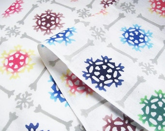 BINGATA TENUGUI (Japanese Traditional Towel)  SNOWFLAKE Komon - Hand dye, Bingata  Artist, Traditional Chusen dye method over 100 years