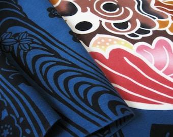 BINGATA TENUGUI (Japanese Traditional Towel)  Shisa - Hand dye, Bingata  Artist, Traditional Chusen dye method over 100 years