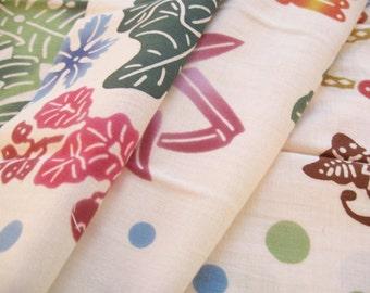 BINGATA TENUGUI (Japanese Traditional Towel)  Tropical Jungle - Hand dye, Bingata  Artist, Traditional Chusen dye method over 100 years
