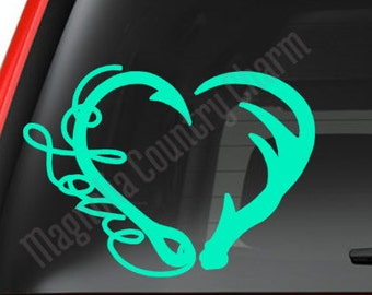 Antler and Fish Hook Heart decal - Hunter Love decal - Sportsman decal
