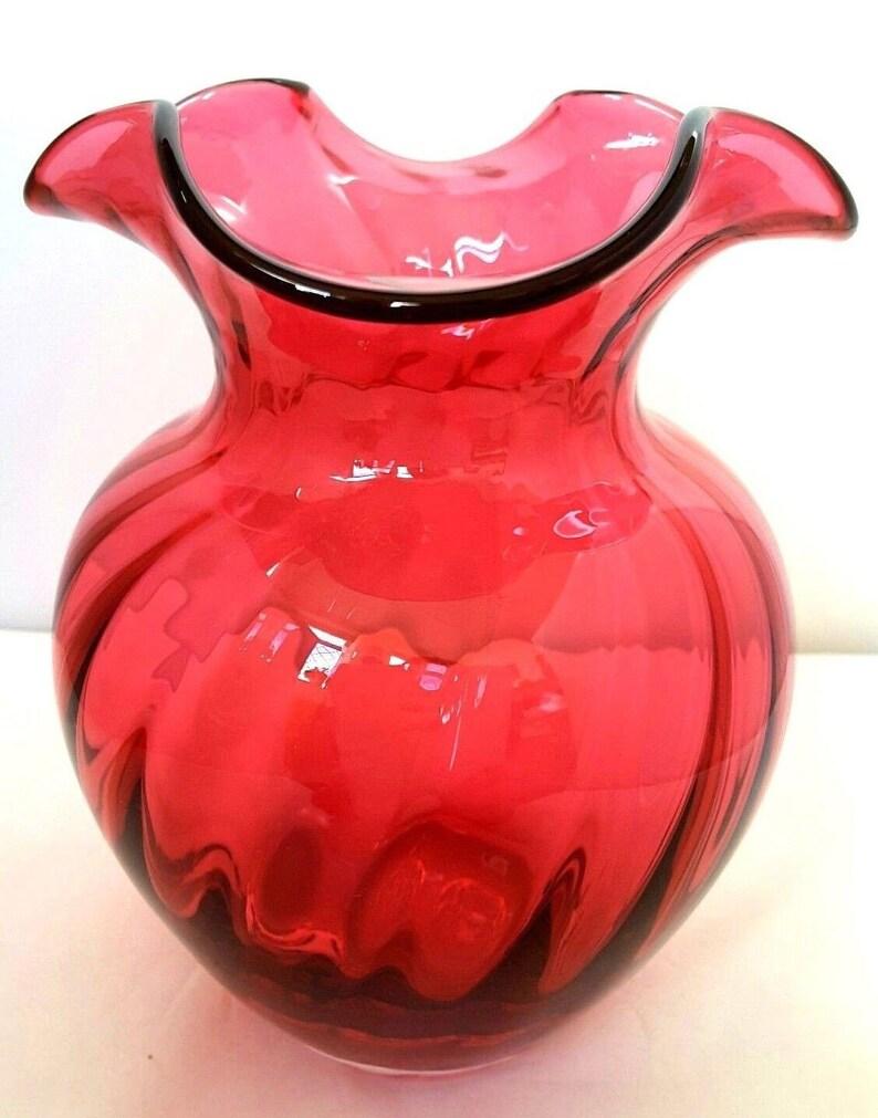 Fashion Style Vintage Dartington Red Glass Vase Pottery, Porcelain & Glass Dartington