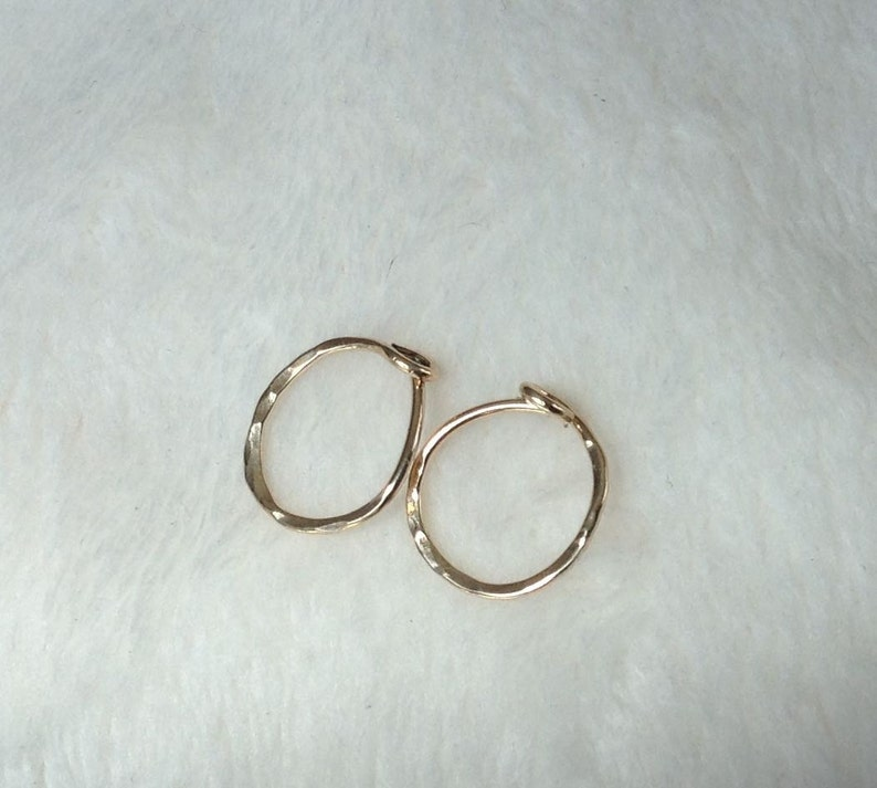 Small 14K Gold Hoops Hammered Piercing Gold Hoops Gold Sleepers 14K Solid Gold Gold Hoop Earrings 10 mm id 14K Gold Earrings