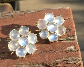 FREE SHIPPING- Antique Vintage Silver & Gold Wires Moonstone Cluster Earrings
