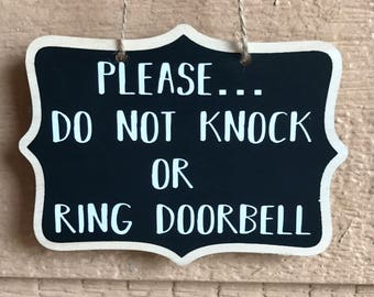 Please Do Not Knock or Ring Doorbell - Do Not Disturb - No Soliciting - Sign