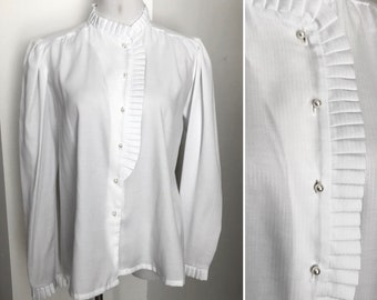 Vintage 80/'s Michelle Stuart secretary blouse-Great above the keyboard look-Vibrant colors-silky material-machine washable-long sleeves