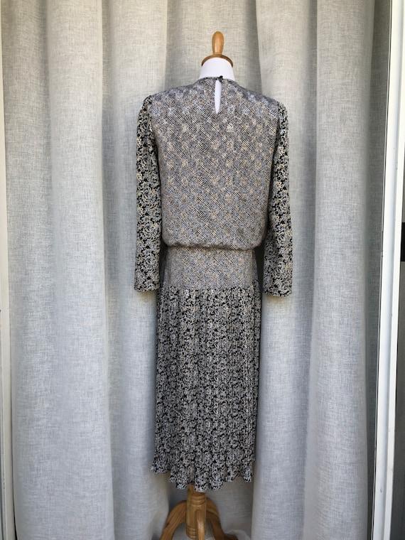 Patty O'Neil long sleeve micro pleat midi dress w… - image 5