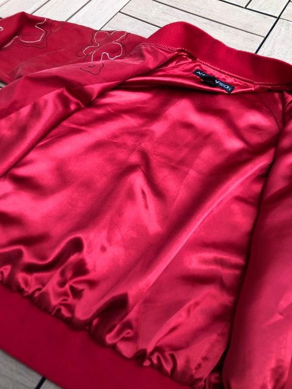 Vintage Anne Carson Red embroidered silk Bomber J… - image 8