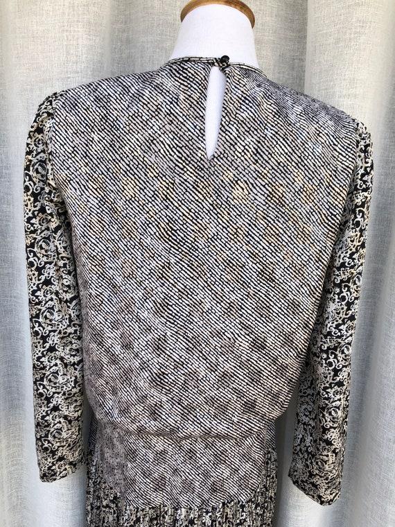 Patty O'Neil long sleeve micro pleat midi dress w… - image 6