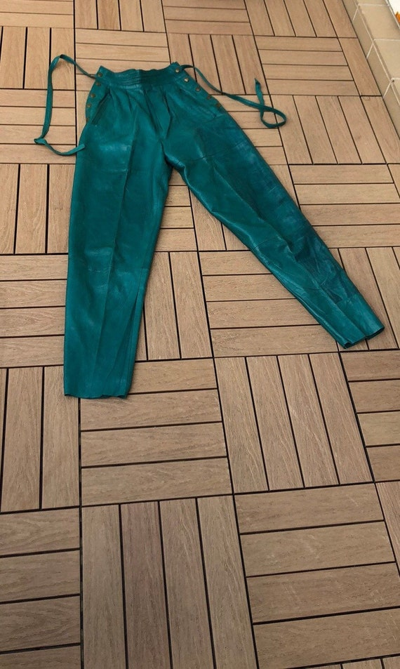 Vintage turquoise leather high waisted pants, made