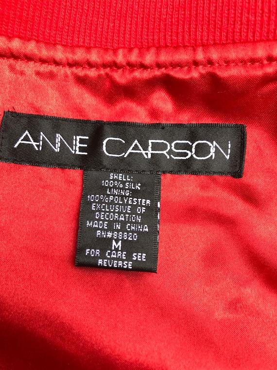 Vintage Anne Carson Red embroidered silk Bomber J… - image 9