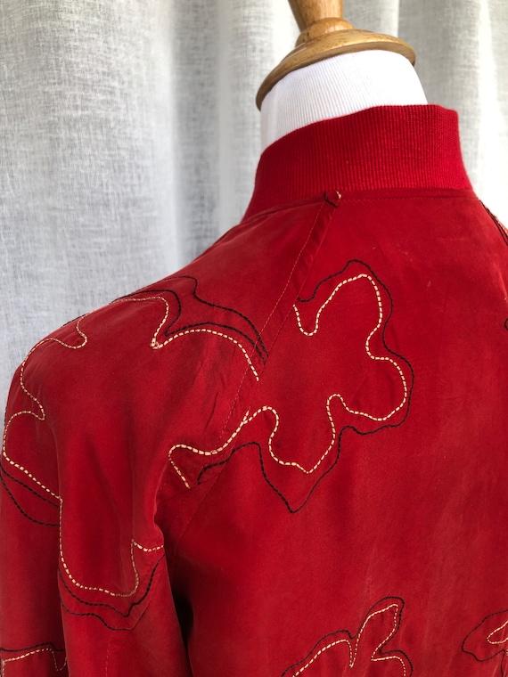Vintage Anne Carson Red embroidered silk Bomber J… - image 5