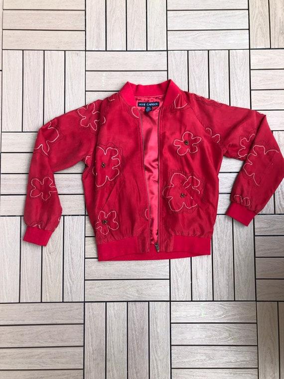 Vintage Anne Carson Red embroidered silk Bomber J… - image 7