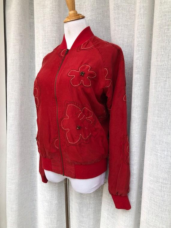 Vintage Anne Carson Red embroidered silk Bomber J… - image 3