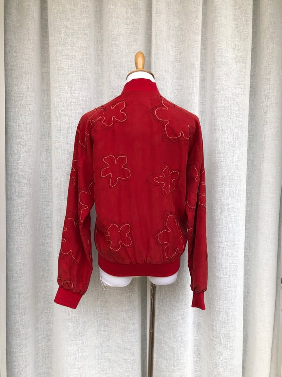 Vintage Anne Carson Red embroidered silk Bomber J… - image 4