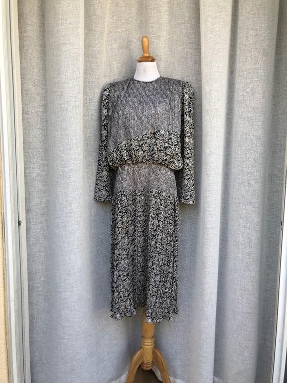 Patty O'Neil long sleeve micro pleat midi dress w… - image 2