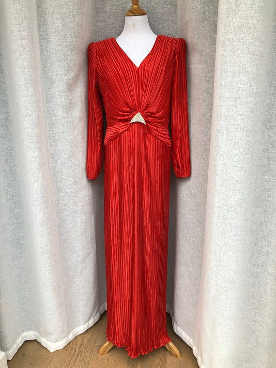 1980s Fortuny Style Pleated Dress / 80s Red George