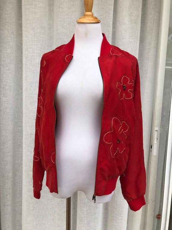 Vintage Anne Carson Red embroidered silk Bomber J… - image 6