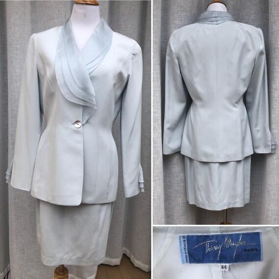 Thierry Mugler light blue skirt suit, 1990's