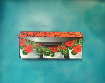 Geraniums in Bucket Wall mounted Mailbox Cover