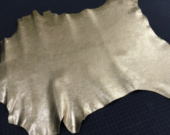 Gold Metallic finish Goat Skin Leather from Italy