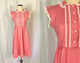 Adolescent/petite ** 1940s PINK COTTON lace trim sleeveless dress ** vintage forties 1950s Cinderella fashions dress