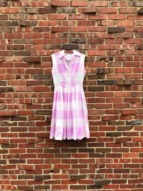 Small/medium • 1950s SWISS DOT sheer pastel pink p