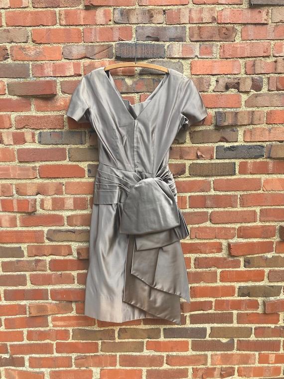 Xs • 1950s PURE SILK mocha satin charmeuse dress … - image 5