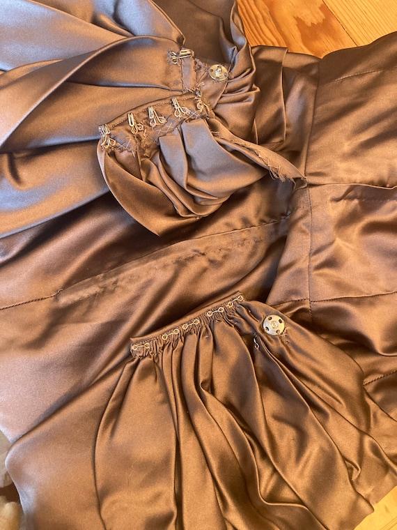 Xs • 1950s PURE SILK mocha satin charmeuse dress … - image 8