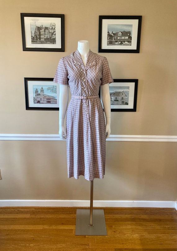 Large • 1950s ANN TAYLOR pink and gray plaid belte