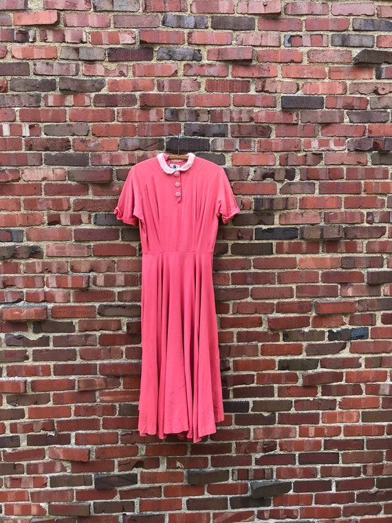 Small • 1950s CORAL PINK rayon gabardine dress • v
